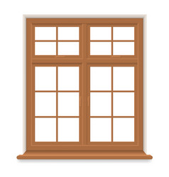 Traditional wooden window isolated vector