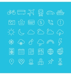 Travel tourism and weather icons set 1 vector image