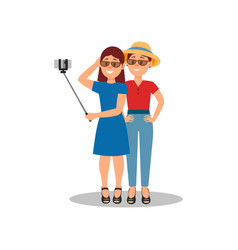 two young girls making selfie for social media vector image