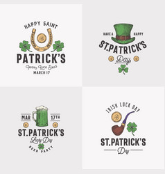 vintage style saint patricks day logos or labels vector image