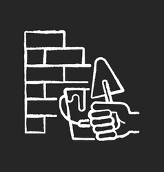 wall building chalk white icon on black background vector image