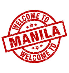 Welcome to manila red stamp vector