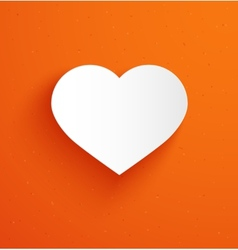 White paper heart on orange background vector