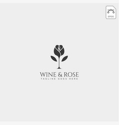 Wine and rose logo template isolated icon elements vector