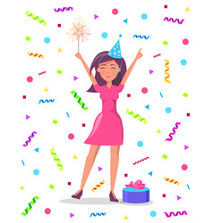 Woman with sparkler confetti and tinsel gift box vector
