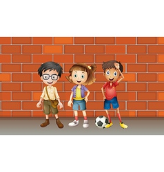 Boys and a girl vector image vector image