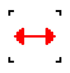 dumbbell weights sign red icon inside vector image