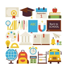 Flat Style Collection of Back to School and vector image vector image
