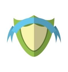 green shield protection emblem blue ribbon shadow vector image vector image