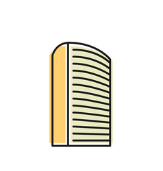 isolated yellow color skyscraper in lineart style vector image vector image