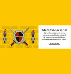 medieval arsenal banner horizontal concept vector image