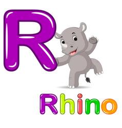 animals alphabet r is for rhino vector image