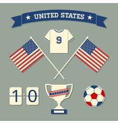 flat design us soccer icons symbols decoration vector image vector image
