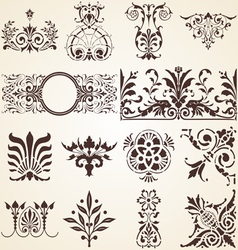 Decorative ornaments design elements corners vector image