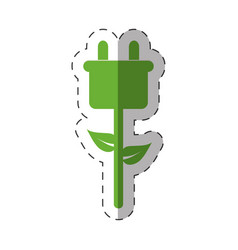 green plug electricity environment design vector image