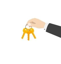 Hand holding keys chain vector image