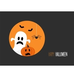 happy Halloween card with evil laughing pumpkin vector image