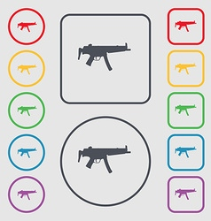 machine gun icon sign symbol on the Round and vector image