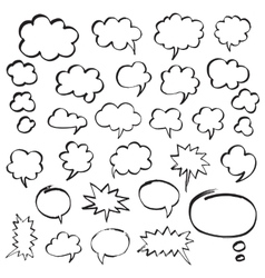 Marker Speech Bubbles and Thought Clouds vector image