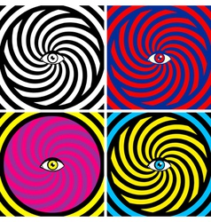 Set of four bright hypnotic Poster vector image