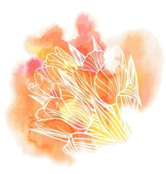 Tulip flowers on a watercolor background vector image vector image