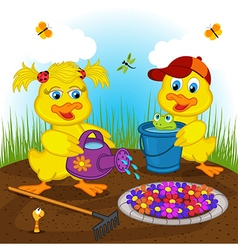 ducklings boy and girl watering flowers vector image