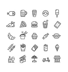 fastfood and street food black thin line icon set vector image