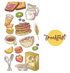 healthy breakfast hand drawn design with bakery vector image