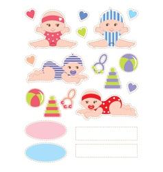 Scrapbook elements with baby vector image vector image
