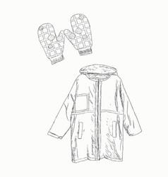 set winter clothing sketch vector image vector image