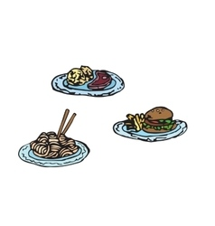 Simple sketch of fast food Meat set vector image