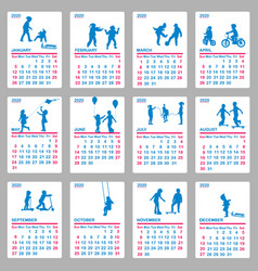 2020 calendar with blue silhouettes children vector image