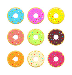 abstract donuts set in flat vector image