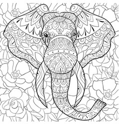 adult coloring bookpage a head of elephant on the vector image