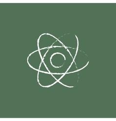 Atom icon drawn in chalk vector image