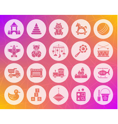 Baby toy shape carved flat icons set vector