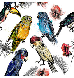 Beautiful background with tropical birds vector