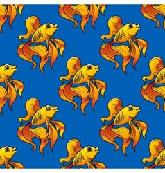 Beautiful ornamental goldfish seamless pattern vector image