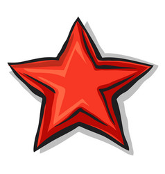 Big cartoon red star with shadow and black contour vector