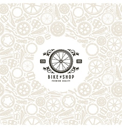 Bike shop label and frame with pattern vector