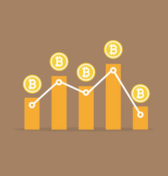 Bitcoin with graph up and down vector