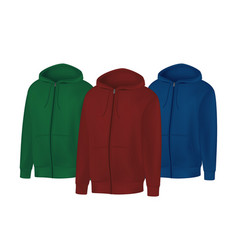 blank green red blue mens hoodie sweatshirt long vector image