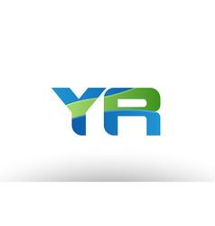 Blue green yr y r alphabet letter logo vector