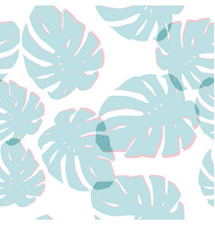Blue monstera leaves seamless pattern white vector