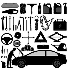 car auto accessories repair tool a set of car vector image