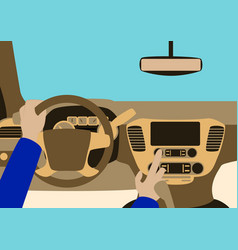 Car inside the driver presses the buttons vector