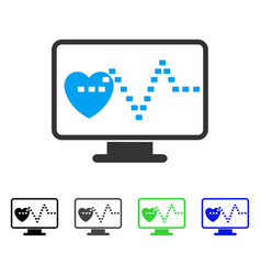 Cardio monitoring flat icon vector