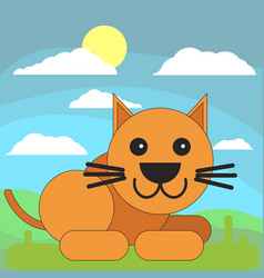 cat in cartoon flat style on the background of vector image