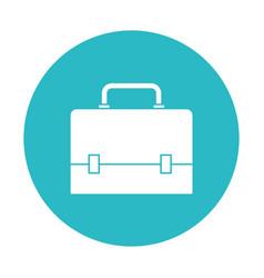 Circle light blue with executive briefcase vector