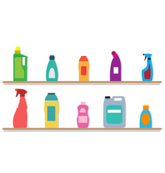 cleaning housework bottles with liquid cleaner vector image
